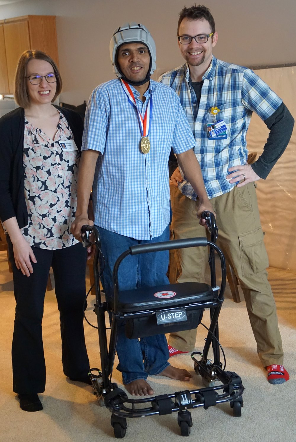 Thomas Shobith - with Physical therapist Andrew Fifield and Alexandra Thomas after winning his first challenge