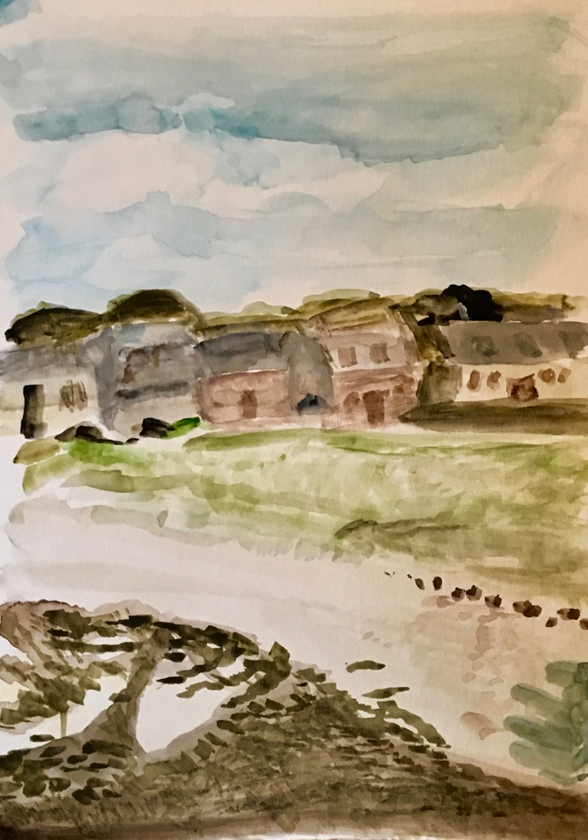 My watercolour of the seafront at Iona