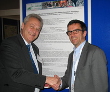 Prof. Adrian Danek, coordinator of the EMINA consortium, at the IRDiRC meeting in Dublin April 16, 2013, together with his Munich colleague Prof. Klopstock (right).